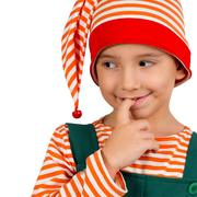 Portrait of a child in an elf suit on a white background Stock Photos