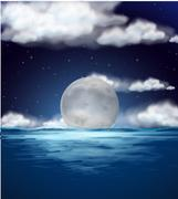 Ocean scene with fullmoon at night Piirros