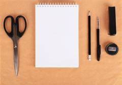 Mock up on the kraft paper. Templates blank with stationery. Stock Photos