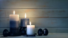 Blue Urban Wood Holiday Candles Stock Footage