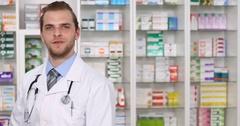Pharmacist Man Talk Looking Camera Medicine Pills Drugs Marketing Pharmacy Shop Stock Footage