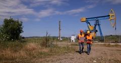 Energy Industry Worker Men Collaboration Walk Talking Plan Cooperation Oil Pump Stock Footage