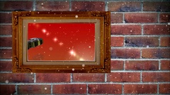Photo frame of happy Christmas on brick wall, with snow effect Stock Footage