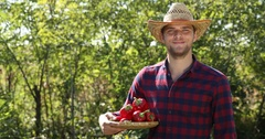 Positive Handsome Peasant Man Presentation Hold Red Pepper Look Camera Confident Stock Footage