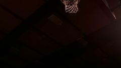 Two basketball players jump up and slam dunk, view from below Stock Footage