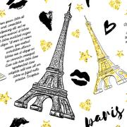 Paris. Vintage seamless pattern with Eiffel Tower, kisses, hearts and stars Stock Illustration