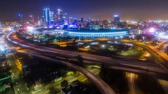 Aerial timelapse view of traffic on freeway interchange Stock Footage