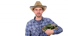 Busy Farmer Man Looking Camera Holding Fresh Cucumbers Confident Thumb Up Sign Stock Footage