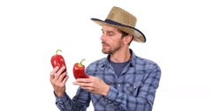 Optimistic  Farmer Man  Holding Organic Red Peppers Happy Thumb Up Sign Gesture Stock Footage