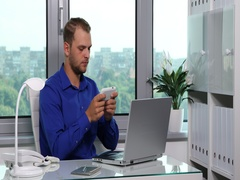 Real Estate Agent Manager Man Send Message Partner Mobile Phone Text Office Desk Stock Footage