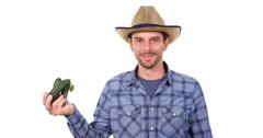 Farmer Man Hold Show Organic Cucumber Positive Thumb Up Sign Bio Farming Concept Stock Footage
