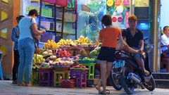Night market. Commercial fruit on the tourist street. Stock Footage