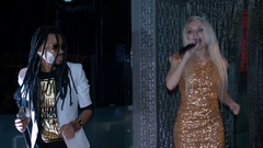 Duet African American man and a blonde woman singing Stock Footage