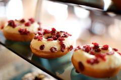 Chocolate Grapes Donuts Stock Photos
