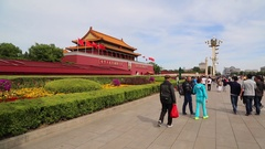 Pedestrians walking in front of Tiananmen rostrum,time lapse Stock Footage