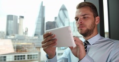 Good Looking Business Man Using Digital Tablet Work Online London Skyline Center Stock Footage