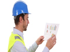 Supervisor Engineer Man Hold Pie Chart Checking Data Reading Profit Statistics Stock Footage