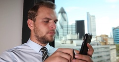 Corporate Businessman Using Mobile Financial Transaction Internet Banking London Stock Footage