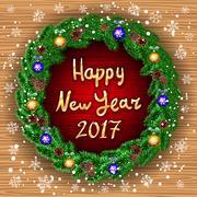 Happy new year 2017 green wreath Realistic Christmas coniferous wreath isol.. Stock Illustration