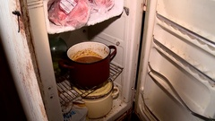 Old rusty fridge homeless Stock Footage