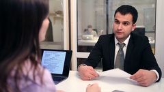 Smiling candidate during a job interview Stock Footage