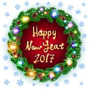 Vector Christmas happy new year 2017 green wreath. background. snow. light Stock Illustration