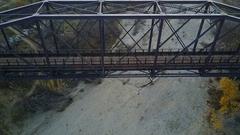 Aerial view of historic bridge Stock Footage