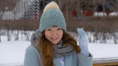 Beautiful young model smiling in winter. Slow motion Stock Footage
