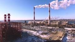 Aerial shot of Voronezh. Heat power station near Voronezh reservoir. Russia. 4K Stock Footage