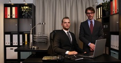 Confident Business Men Partners Talking Interview Report Looking Camera Office Stock Footage