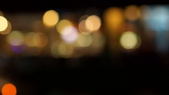 The lights of the evening restaurant. Variable blur. Stock Footage