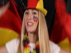 Happy German Soccer Supporter Woman Shouting Germany Football Fan Girl Smiling Stock Footage