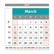 Simple digital calendar for March 2017. Vector printable calendar. Monthly .. Stock Illustration