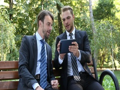 Positive Business People Talk Digital Tablet Teamwork Park Bench Outside Office Stock Footage