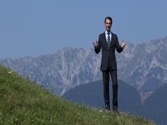 Happy Businessman Talk Camera Live Announcement Beautiful Mountains Destination Stock Footage