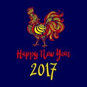 2017 Chinese New Year of the Rooster. Vector file organized in layers for e.. Stock Illustration