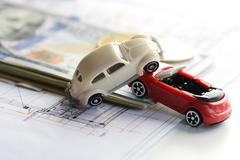 Cars accident damage, money and insurance policy contract Stock Photos