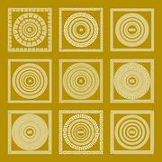 Vector set Traditional vintage golden square and round Greek ornament Meand.. Stock Illustration
