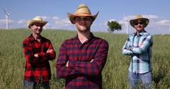 Happy Team Peasant Farmer Men Posing Proudly Oat Field Organic Bio Agriculture Stock Footage