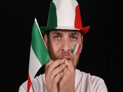 Young Supporter Man Worried Italian Football Team Stadium Sport Event Concept Stock Footage