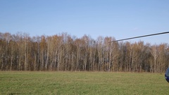 Small passenger helicopter on the airfield Stock Footage