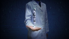 Doctor open palm, Rotating 3D robot cyborg body. Artificial intelligence. Stock Footage