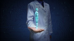 Doctor open palm, Rotating transparency 3D robot cyborg body. Stock Footage
