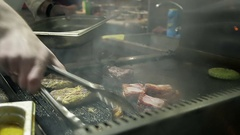 Close Up of a Chef Preparing a Succulent Meat on the Stove in Restaurant Stock Footage