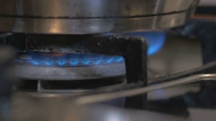 On a gas stove is cooked in the pot soup. the broth is boiling, brewing Stock Footage