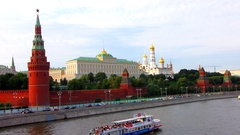 Moscow cityscape. Kremlin and embankment of Moskva river. Stock Footage