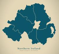 Modern Map - Northern Ireland with counties UK Stock Illustration
