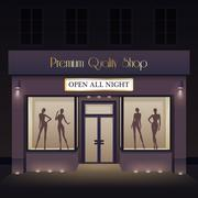 Beauty Store Front View Template Stock Illustration