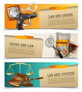 Law Justice Flat Horizontals Banners Set Stock Illustration