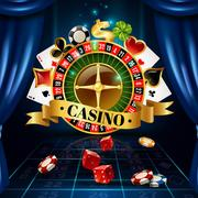 Casino Night Games Symbols Composition Poster Stock Illustration
